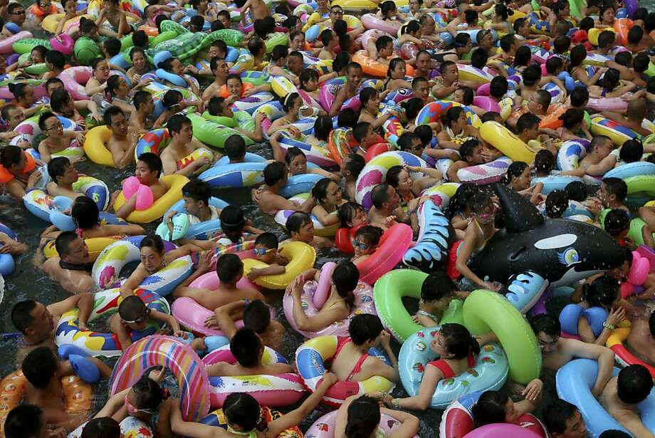 Like Jell-O: There's always room for a few hundred or more swimmers in the saltwater pool at the 