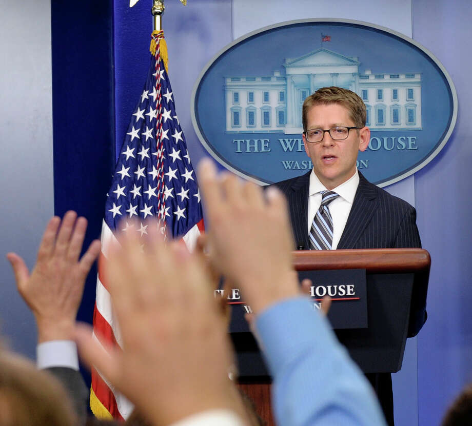 White House press secretary Jay Carney speaks during the daily briefing at the White House in Washington. The daily ritual is so worthless it should be discontinued. Photo: Susan Walsh, Associated Press / AP