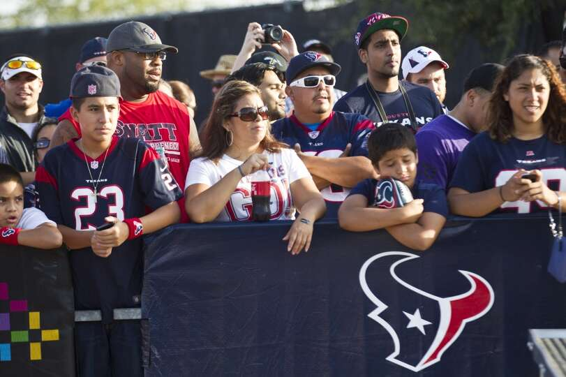 Texans fans watch practice.