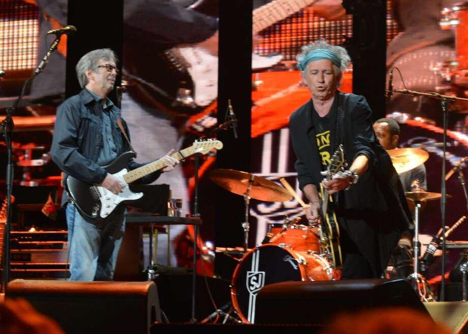 NEW YORK, NY - APRIL 13:  Eric Clapton and Keith Richards perform on stage during the 2013 Crossroads Guitar Festival at Madison Square Garden on April 13, 2013 in New York City.  (Photo by Larry Busacca/Getty Images) Photo: Getty Images