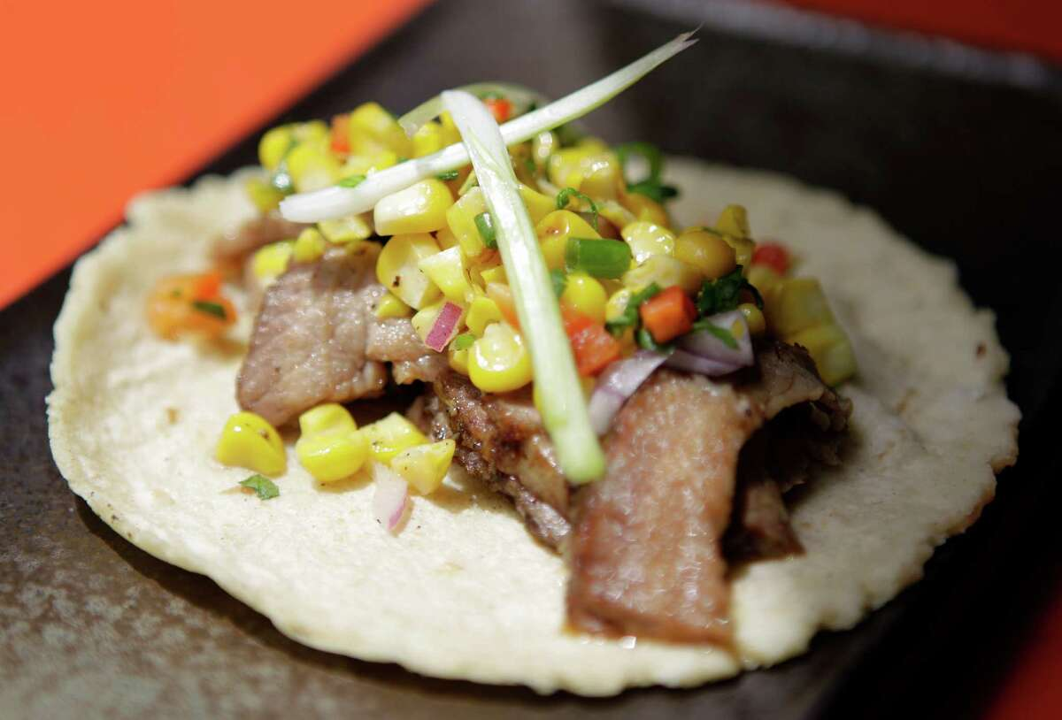 A Chinese BBQ Bershire pork taco shown at Fusion Taco, 801 Congress, Wednesday, July 24, 2013, in Houston. ( Melissa Phillip / Houston Chronicle )