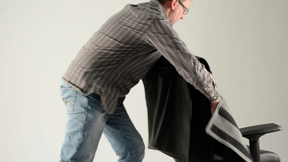 Neutral Posture's chair is covered with a bullet-resistant vest that can be worn or used as a shield. (Neutral Posture photo)