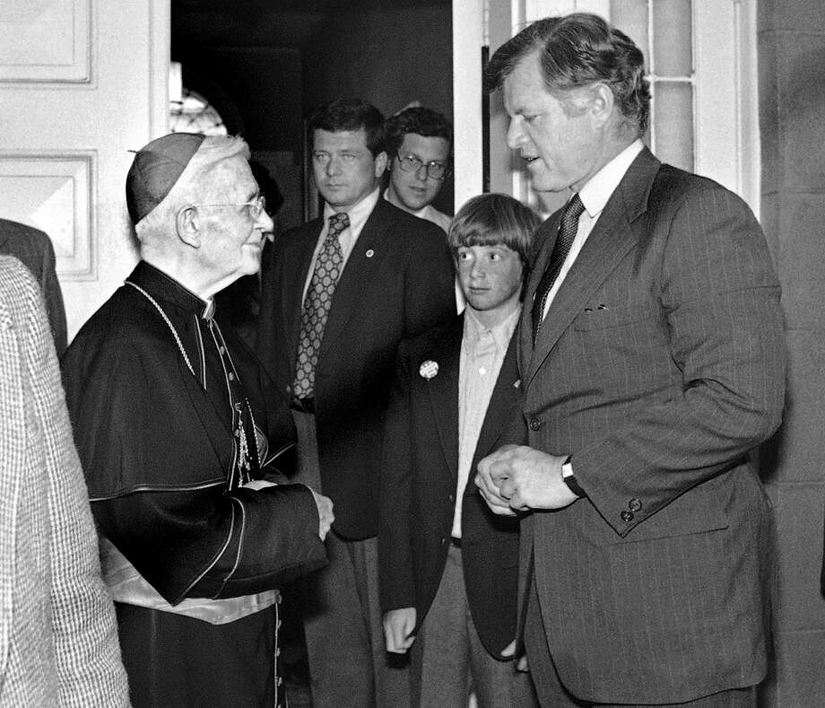 Edward Kennedy takes a break from campaigning to pay a visit to Lawrence Cardinal Shehan, the former Archbishop of Baltimore, on May 11, 1980 in Baltimore, Md. Lawrence Shehan appointed the first bishop of the newly-erected Diocese of Bridgeport in Connecticut on Aug. 25, 1953. He served as Bridgeport bishop until 1961 when he returned to his native Baltimore as its Archbishop. He was made a cardinal in 1965. He resigned in 1974 and died 10 years later at the age of 86. Photo: William Smith, AP Photo/William Smith / AP1980 Associated Press