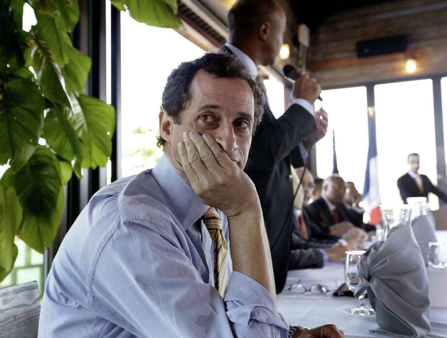 New York mayoral candidate Anthony Weiner  plunged to fourth place among Democrats in a poll taken since he admitted to having illicit online exchanges with women even after he resigned from Congress. Photo: Richard Drew, Associated Press