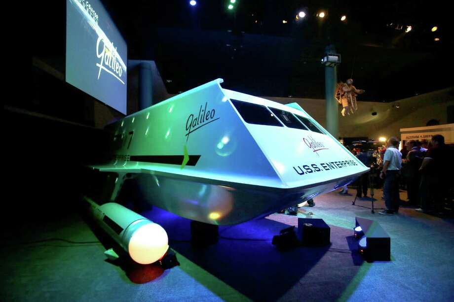 The restored space shuttle Galileo from the 1960's television show Star Trek is unveiled at Space Center Houston Wednesday, July 31, 2013, in Houston.    (AP Photo/Pat Sullivan) ORG XMIT: TXPS102 Photo: Pat Sullivan / AP