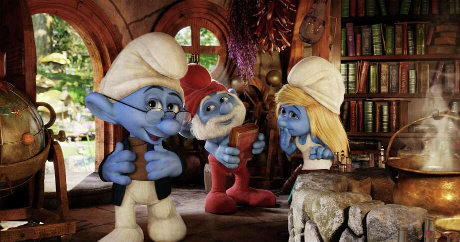 "Narrator Smurf (Tom Kane, from left), Papa Smurf (Jonathan Winters) and Smurfette (Katy Perry) in ""Smurfs 2."" Photo: Sony Pictures Animation"