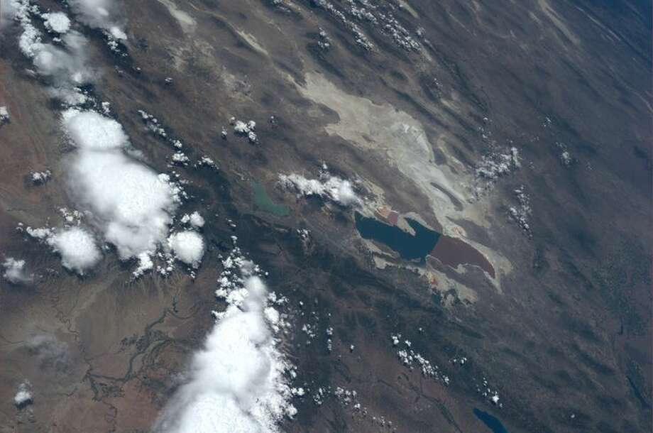 Utah's Great Salt Lake, in June of 2013.  Photo: Karen Nyberg, International Space Station