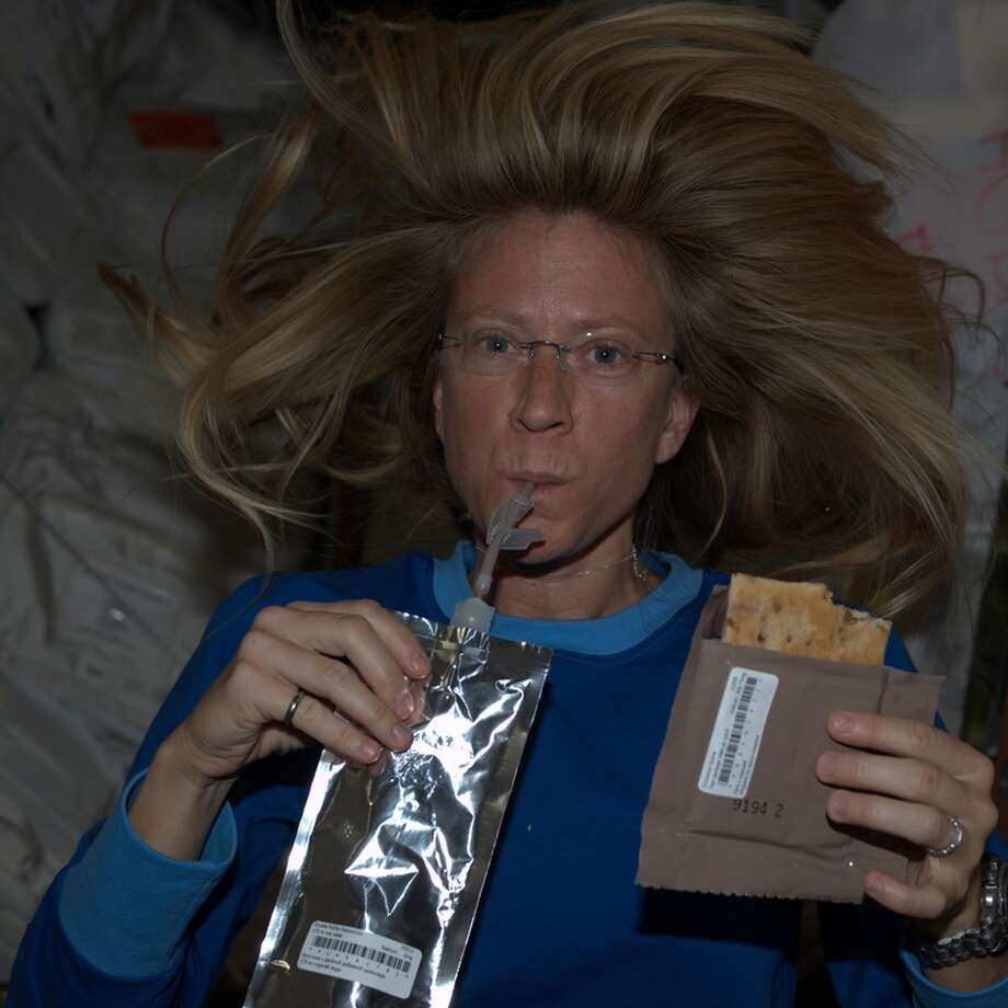 """Sunday morning Space Coffee House. Double Mocha Cappuccino and a Cinnamon Scone. Life is good in LEO."" - Karen Nyberg, June 2013.  Photo: Karen Nyberg, International Space Station"