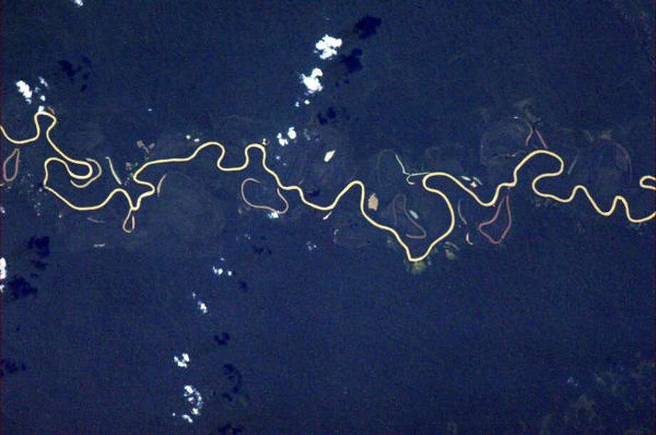 """I'm sure this river takes itself seriously, but it makes me laugh."" - Chris Hadfield, 2013.  Photo: Chris Hadfield, Internationship Space Station"