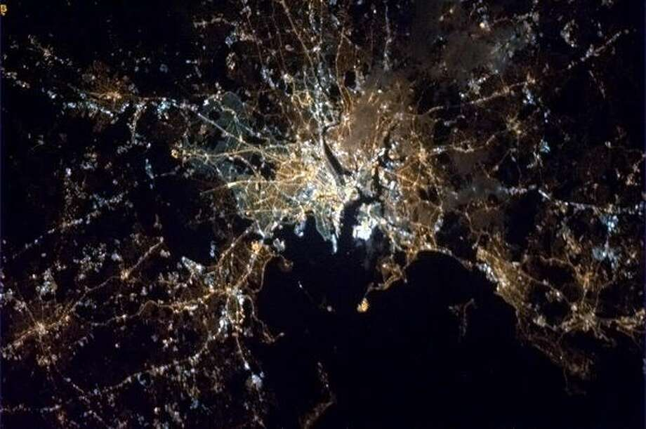 """A somber Spring night in Boston."" - Chris Hadfield, on April 15, 2013, the night of the Boston Marathon bombings.  Photo: Chris Hadfield, Internationship Space Station"