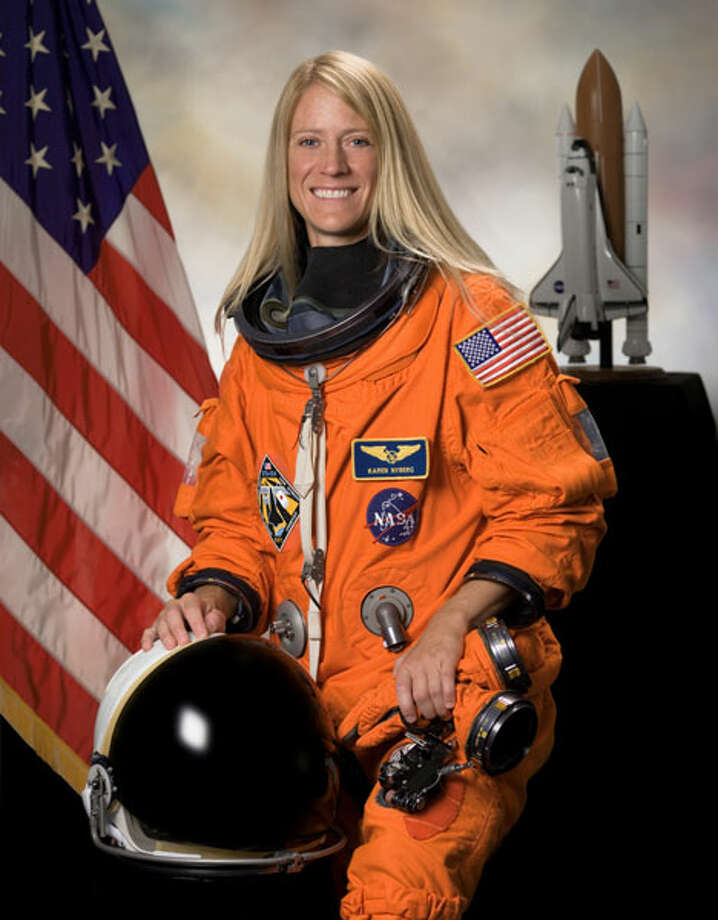 Karen Nyberg, in her NASA portrait. She has a doctorate in mechanical engineering and has worked for NASA since 1991. She did her first spaceflight in 2008, in a mission to deliver equipment to the International Space Station. Currently assigned to NASA's Expediton