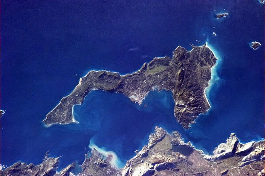 """Seven billion hearts, but I can only see one. #ValentineFromSpace"" - Chris Hadfield, Feb. 14, 2013. (Greek island of Corfu).  Photo: Chris Hadfield,  Internationship Space Station"