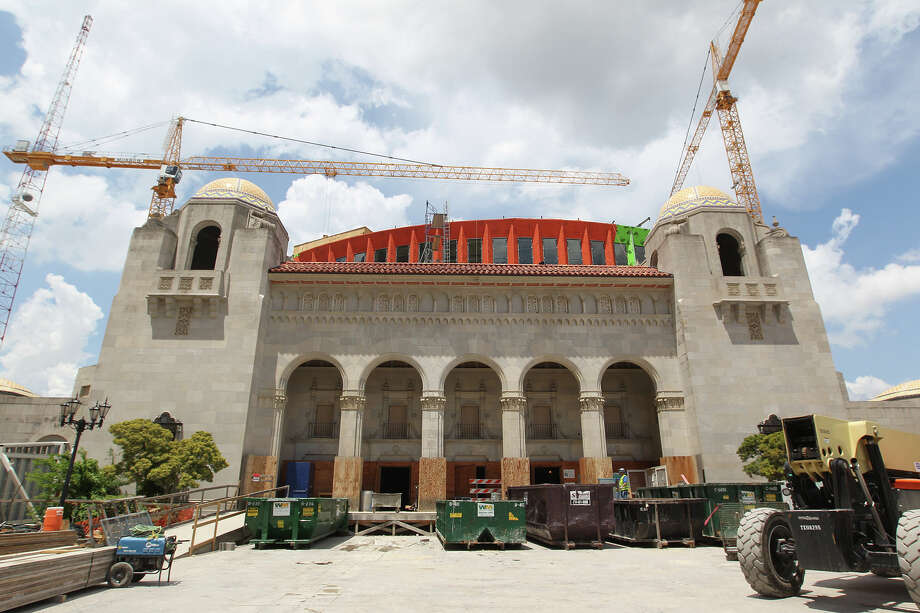 Construction continues at the Tobin Center for the Performing Arts, Monday, April 29, 2013. The $203 million renovation is scheduled for a May 2014 completion date. Photo: JERRY LARA, San Antonio Express-News / © 2013 San Antonio Express-News