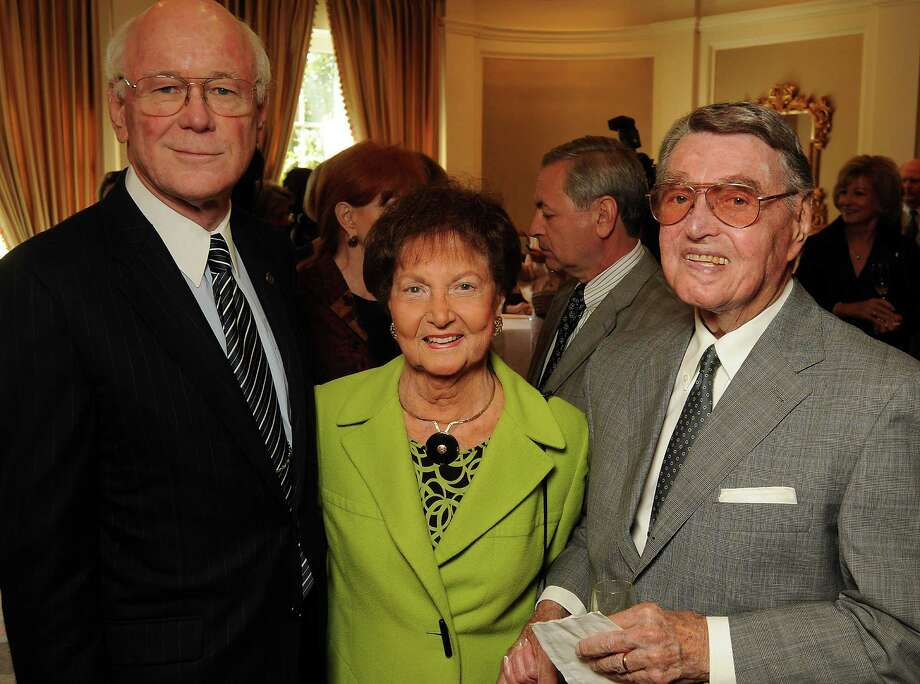 From left: District Judge Lynn W. Hughes, Olive Becker and Earl Hunter at the Assistance League Luncheon at the River Oaks Country Club Thursday Oct. 14, 2010. (Dave Rossman/For the Chronicle) Photo: Dave Rossman, Freelance / Freelance