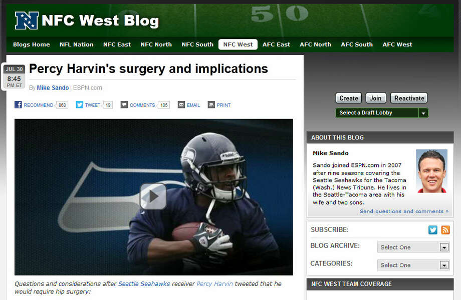 ESPN's NFC West blogESPN blogger Mike Sando writes that while the Seahawks have taken a big loss, Seattle (and the rival San Francisco 49ers, who lost WR Michael Crabtree) ''remain strong throughout their rosters.'' Sando notes that Harvin's absence could be a golden opportunity for Golden Tate to strut his stuff this season.  Photo: Screenshot, ESPN.com