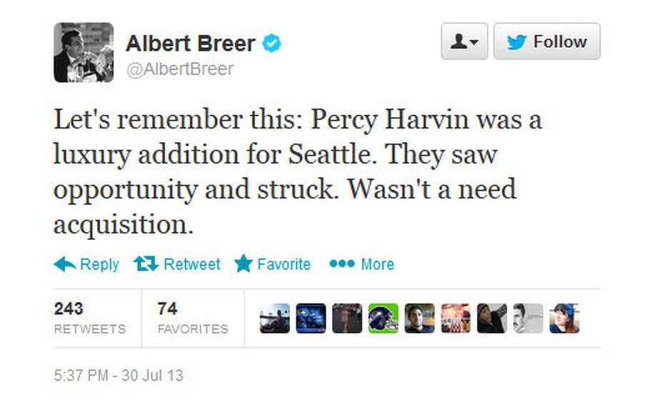 NFL Network's Albert Breer  Writing via Twitter, the NFL Network's Albert Breer suggested that the Seahawks don't necessarily need Harvin. In fact, Breer wrote, his offseason acquisition ''was a luxury addition for Seattle.''  Photo: Screenshot, Twitter.com