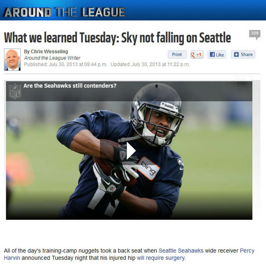NFL.com's Around the League blog  NFL.com blogger Chris Wesseling wrote that, as long as the WR Sidney Rice is OK (he's in Switzerland this week for a non-surgical knee procedure), the Seahawks should be alright. ''To be fair, though,'' Wesseling wrote, ''Harvin was a big part of what coordinator Darrell Bevell planned to do with a more creative offense this season.''  Photo: Screenshot, NFL.com