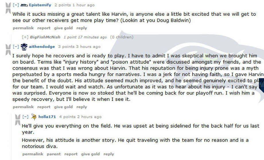 Reddit.com/r/SeahawksOn the Seahawks subreddit of Reddit, Harvin's injury of course was a topic of much discussion. In one thread, redditors wondered whether we all should have seen a Harvin injury coming -- yet all were glad to hear he may be able to return before the end of the season.  Photo: Screenshot.com, Reddit.com/r/Seahawks
