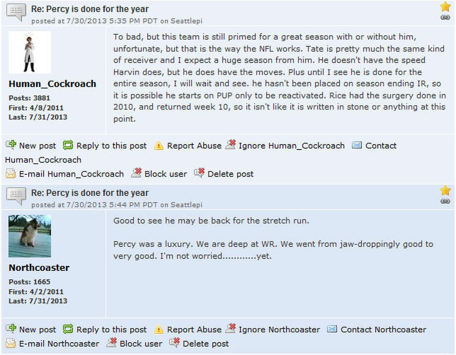Seattlepi.com Seahawks forum  As always, there was plenty of discussion on seattlepi.com's Seahawks forum. In one thread, seattlepi.com readers took the opportunity to vent but also kept a level head. ''Too bad, but this team is still primed for a great season with or without him,'' user Human_Cockroach wrote. ''Unfortunate, but that is the way the NFL works.''  You can join the conversation by visiting seattlepi.com's Seahawks forum. And check out our other sports forums for more Seattle sports discussion.  Photo: Screenshot, Seattlepi.com