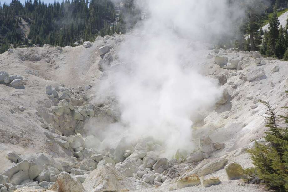 Several steam vents emit sulfur-tinged vapor Photo: Tom Stienstra