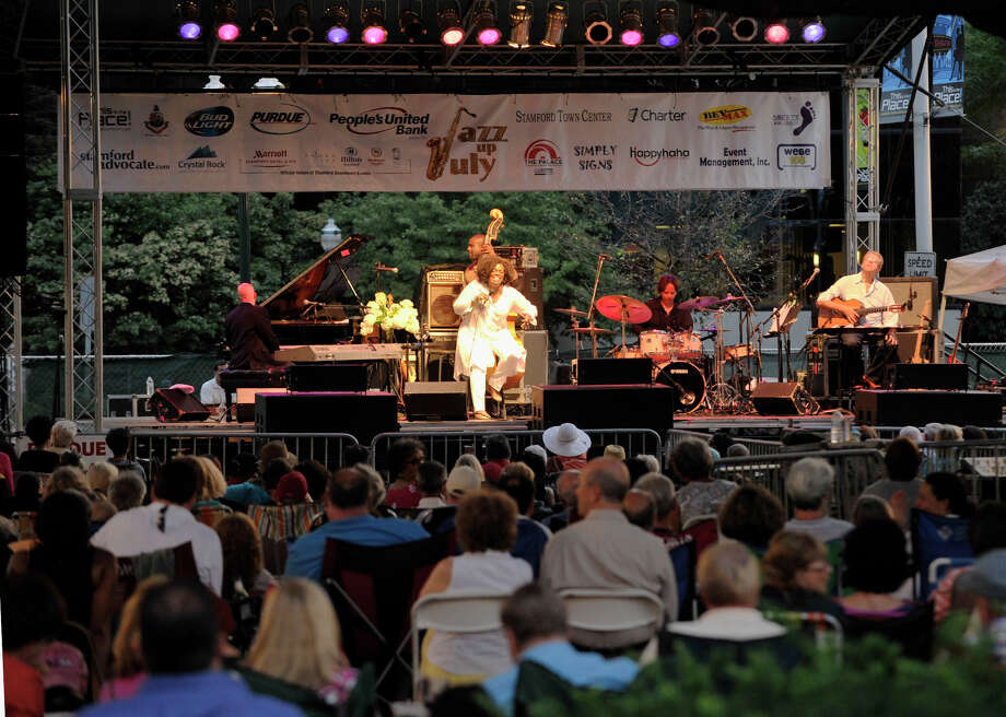 Spectators watch as Dianne Reeves performs during Jazz Up July at Columbus Park in Stamford on Wednesday, July 31, 2013. Photo: Jason Rearick / Stamford Advocate