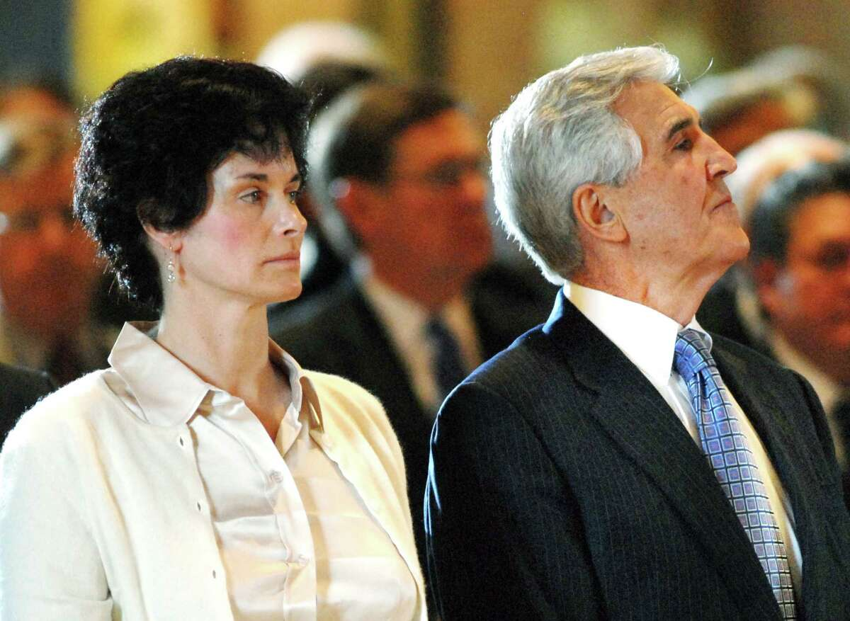 ALBANY TIMES UNION STAFF PHOTO Paul Buckowski -- Senate Majority Leader, Joseph Bruno, right, and his daughter Susan Bruno, seen here at the memorial service for his wife, and Susan's mother, Barbara Bruno, at St. Pius X Church in Loundonville, NY on Monday, Jan. 14, 2008. Bruno's wife passed away last week.