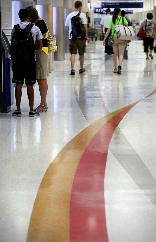 A new floor that will be in both Terminals A and B is part of a renovation project at San Antonio International Airport. the $35.6 million project started in October and is scheduled for completion early next year. Photo: Bob Owen / San Antonio Express-News