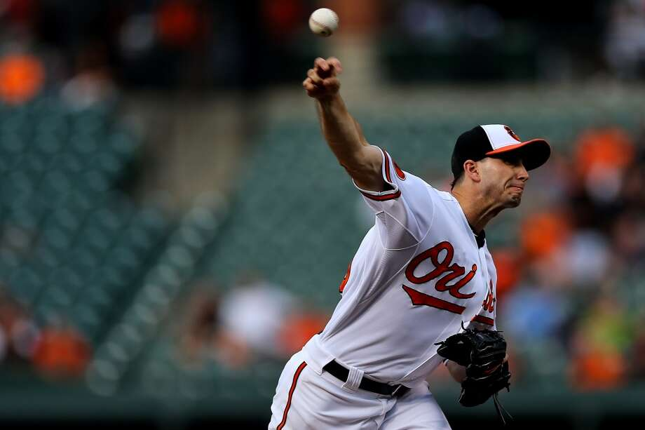 Orioles pitcher Miguel Gonzalez makes a throw to the Astros. Photo: Patrick Smith, Getty Images