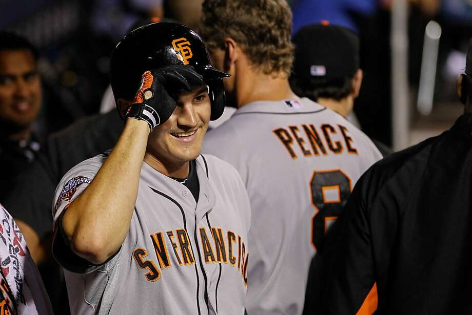 PHILADELPHIA, PA - JULY 31: Brett Pill #6 of the San Francisco Giants smiles in the dugout after hitting a solo home run in the seventh inning of the game against the Philadelphia Phillies at Citizens Bank Park on July 31, 2013 in Philadelphia, Pennsylvania. The Giants won 9-2. (Photo by Brian Garfinkel/Getty Images) Photo: Brian Garfinkel, Getty Images