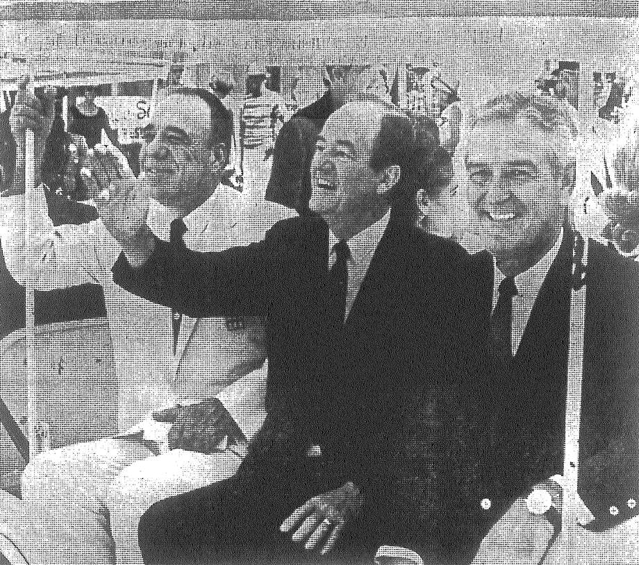 Accompanied by U.S. Rep. Henry B. Gonzalez (left) and Gov. John Connally (right), Vice President Hubert H. Humphrey tours HemisFair aboard El Trenecito in August 1968. Photo: San Antonio Light File Photo