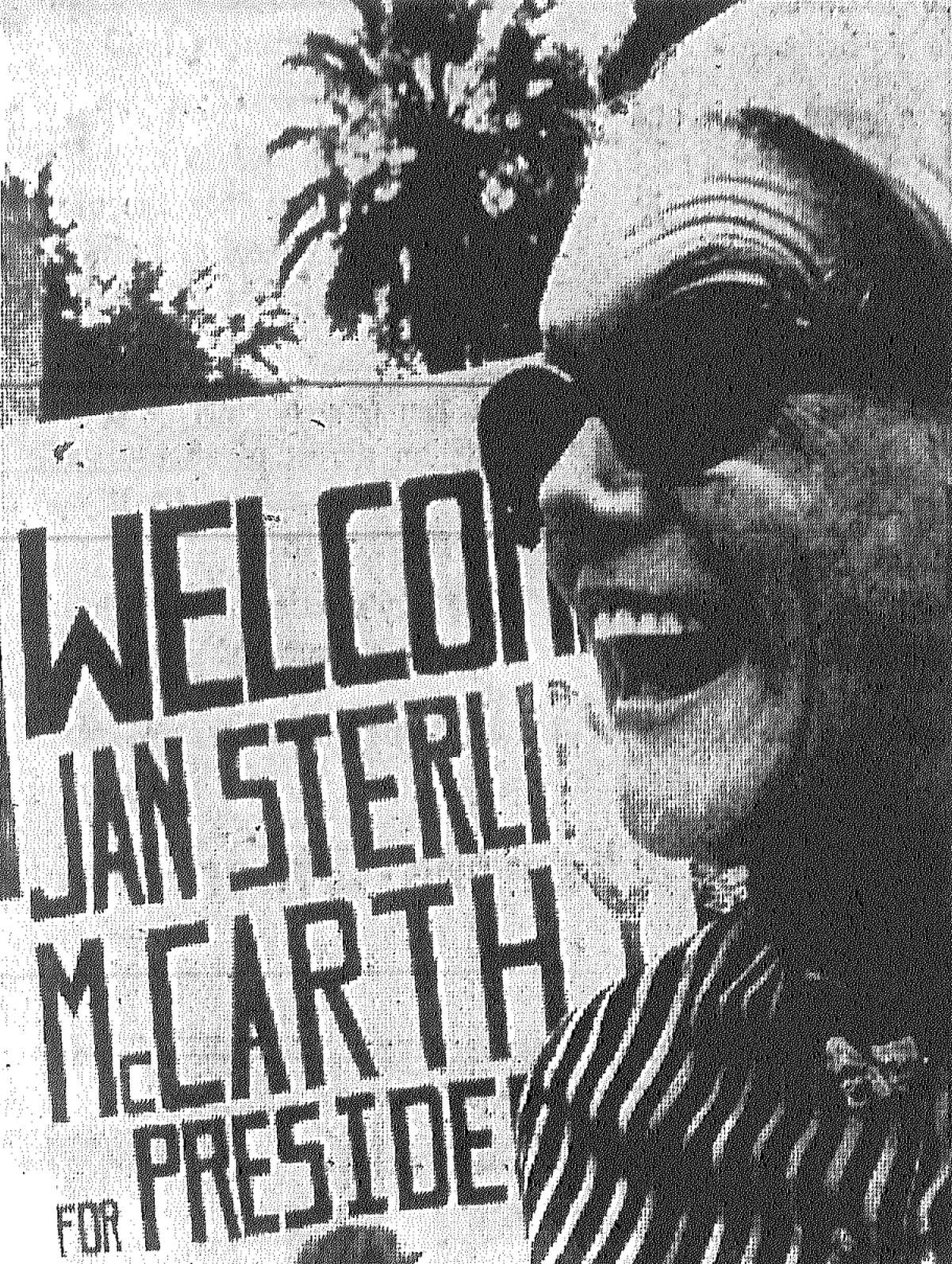 Actress Jan Sterling flashes a big smile as she campaigns in front of the Alamo for Democrat and presidential hopeful Eugene McCarthy. Published in the San Antonio Light Aug. 2, 1968.