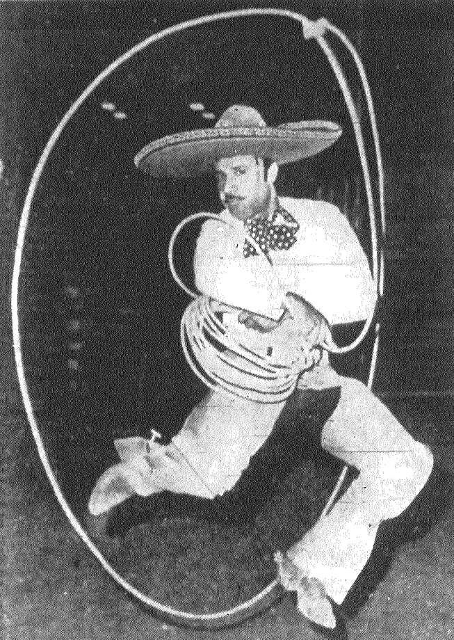 "Nimble David Cueva, top charro in Tony Aguilar's National Mexican Rodeo at HemisFair, performs the ""floriando,"" a bit of trick and fancy riata twirling in anyone's language. Published in the San Antonio Express Aug. 2, 1968. Photo: File Photo"