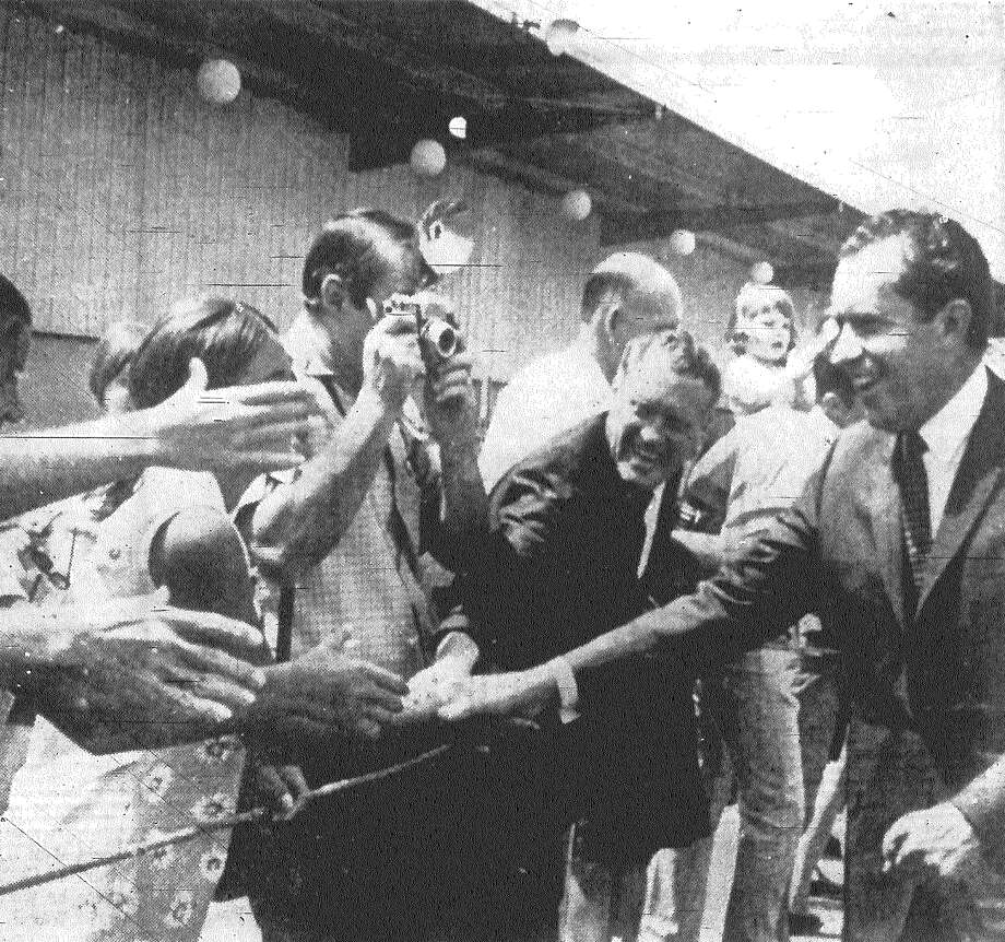 Republican presidential nominee Richard M. Nixon was all smiles as he greeted fans at San Antonio International Airport before leaving for a rest and campaign planning in San Diego, Calif. Published in the San Antonio Express Aug. 11, 1968. Photo: File Photo