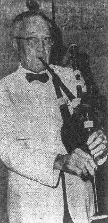 Mayor W.W. McAllister, representing the clan McAllister at the Grand Tartan Ball staged by the Scottish Society of San Antonio, tries his hand at the bagpipes. The mayor admitted he wasn't too successful with the pipes, but noted it was his first effort. Published in the San Antonio Express Aug. 24, 1968. Photo: File Photo