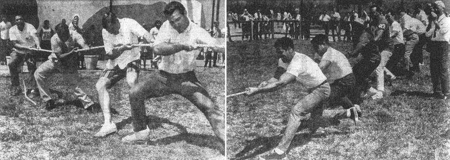 These San Antonio policemen (left) bent to their task in a tug-of-war with members of the San Antonio Toros professional football team (right). In uniform, the Toros have lost only one game in two years, but these huskies were blanked twice in a tug-of-war with members of the police department at HemisFair's Project Y. The cops averaged about 190 pounds, the mighty Toros about 240. There were eight men on each team. Published in the San Antonio Express Aug. 23, 1968. Photo: File Photo