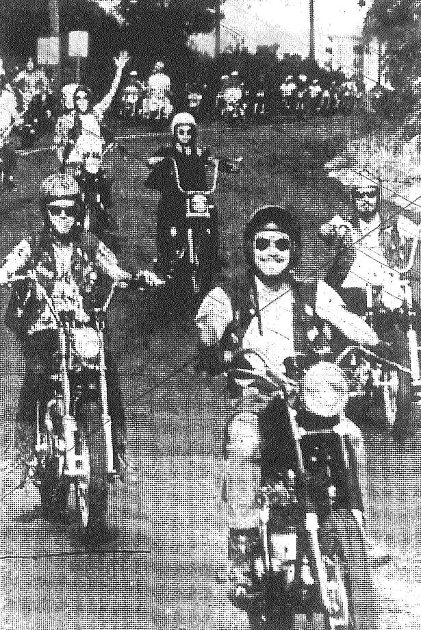 Motorcyclists start their journey from San Antonio to Austin to protest a law requiring cyclists to wear helmets. Published in the San Antonio Light Aug. 16, 1968. Photo: File Photo