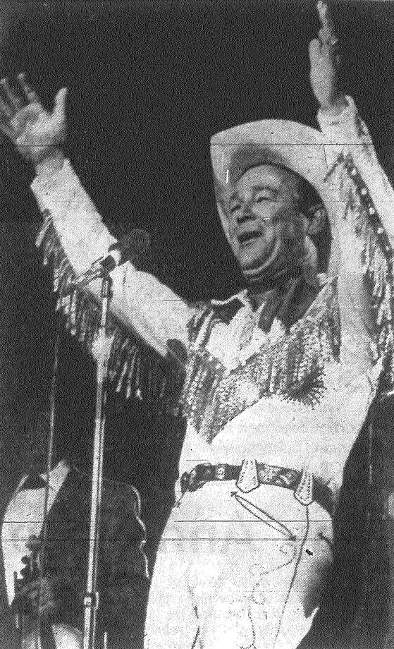 "Roy Rogers whoops it up at HemisFair, ending the program with the cowboy star's old song signature, ""Happy Trails to You."" Published in the San Antonio News Aug. 14, 1968. Photo: File Photo"