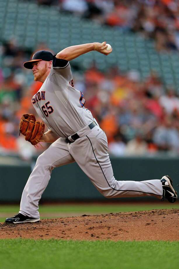 BALTIMORE, MD - JULY 31: Pitcher Brett Oberholtzer #65 of the Houston Astros works the second inning against the Baltimore Orioles at Oriole Park at Camden Yards on July 31, 2013 in Baltimore, Maryland. (Photo by Patrick Smith/Getty Images) ORG XMIT: 163494785 Photo: Patrick Smith / 2013 Getty Images
