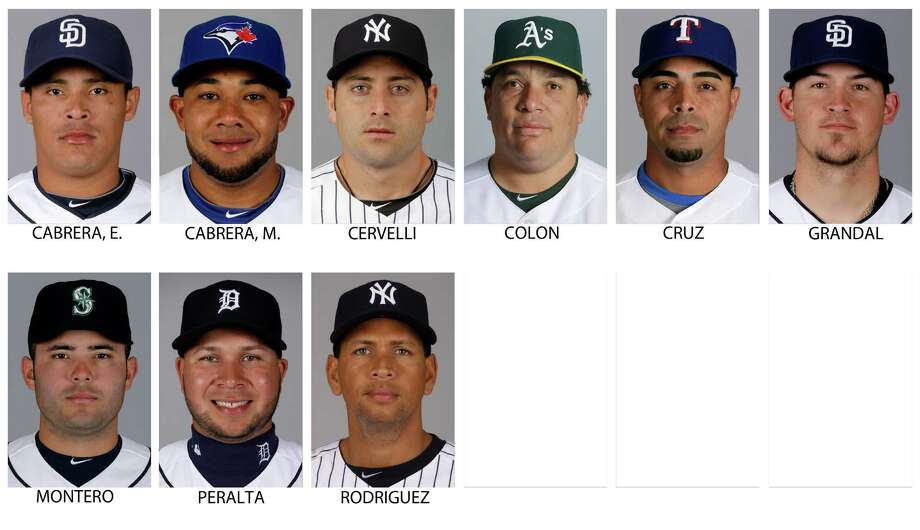 FILE - Top row from left are 2013 file photos showing San Diego Padres' Everth Cabrera, Toronto Blue Jays' Melky Cabrera, New York Yankees' Francisco Cervelli, Oakland Athletics' Bartolo Colon, Texas Rangers' Nelson Cruz and San Diego Padres' Yasmani Grandal. Bottom row from left are 2013 file photos showing Seattle Mariners' Jesus Montero, Detroit Tigers' Jhonny Peralta, and a 2012 file photo of New York Yankees' Alex Rodriguez. Major League Baseball has told the union which players it intends to suspend in its drug investigation and which ones will receive lengthier penalties for their roles in the Biogenesis case. (AP Photo/File) ORG XMIT: NY158 Photo: Uncredited / AP