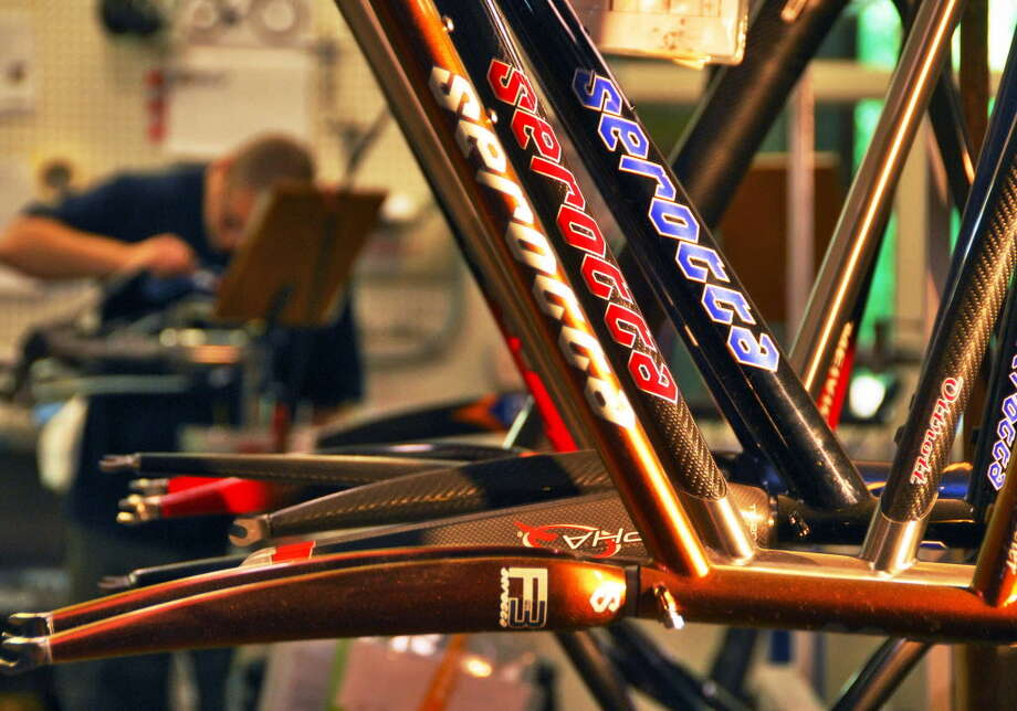 Finished custom bicycle frames at Serotta Competition Bicycles in Saratoga Springs  in this May 2008 archive photo.(John Carl D'Annibale/Times Union archive) Photo: John Carl D'Annibale / Albany Times Union