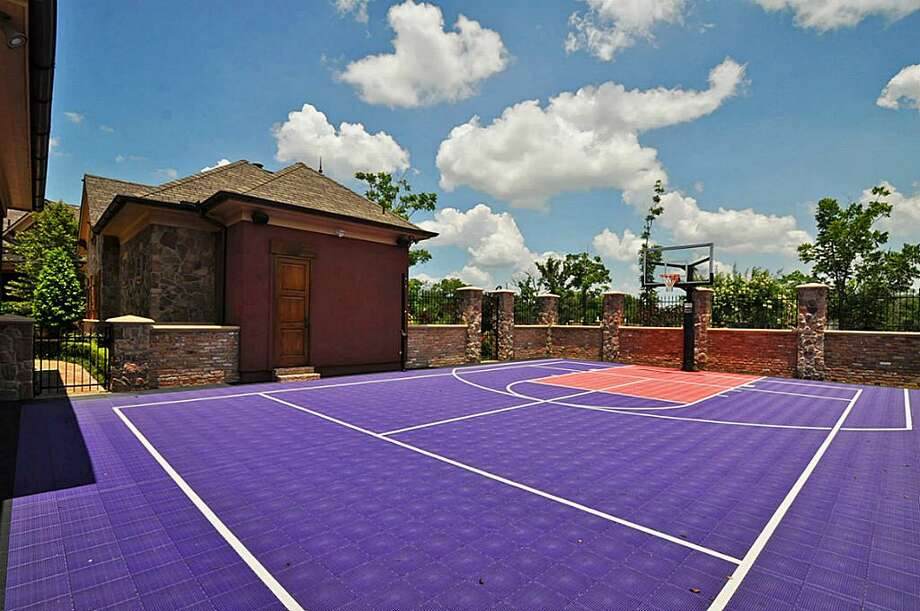 Athlete's paradise. Full-sized sports court has a refreshment center & storage. Ideal for basketball, tennis, volleyball & more. A private entrance from the large motor court also makes this an excellent location to host large events.See the listing here.