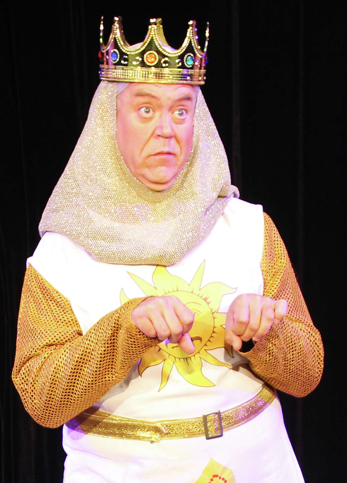 Kevin Murray plays King Arthur in the Woodlawn Theatre's staging of