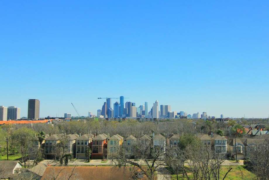 This $2.4 million condo features two bedrooms and three and half baths. It offers stunning views of River Oaks and downtown.