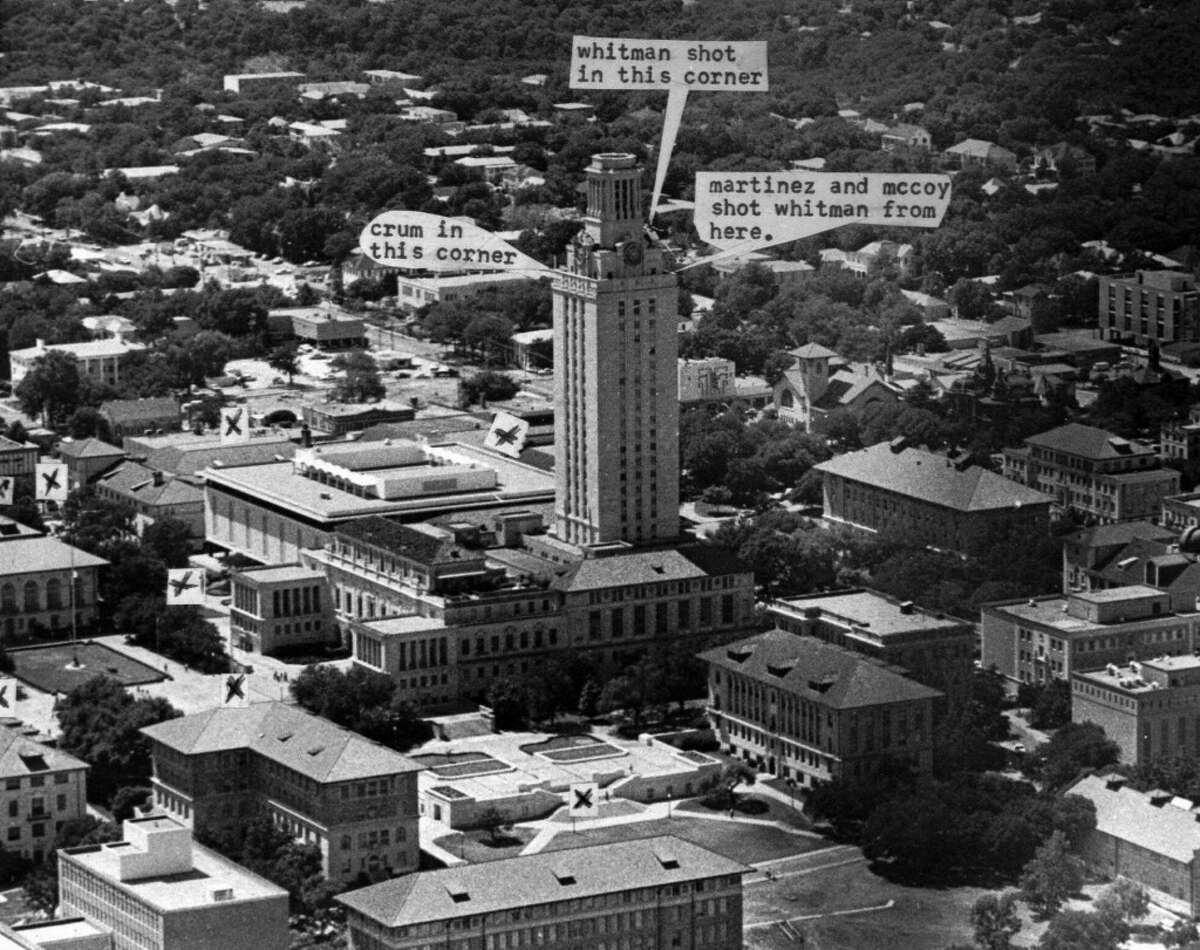 An Aug. 2,1966 photo shows where killings took place at the University of Texas tower in Austin, Texas. After 23 years, the University of Texas decided Thursday Nov. 12, 1998 to reopen the school's landmark clock tower, the site of one of the nation's worst mass murders. 'X' shows where victims were slain. The Corner where Charles Whitman died is partly blocked in photo. Five victims were inside the tower on steps, apparently shot by Whitman on his way to observation walkway.