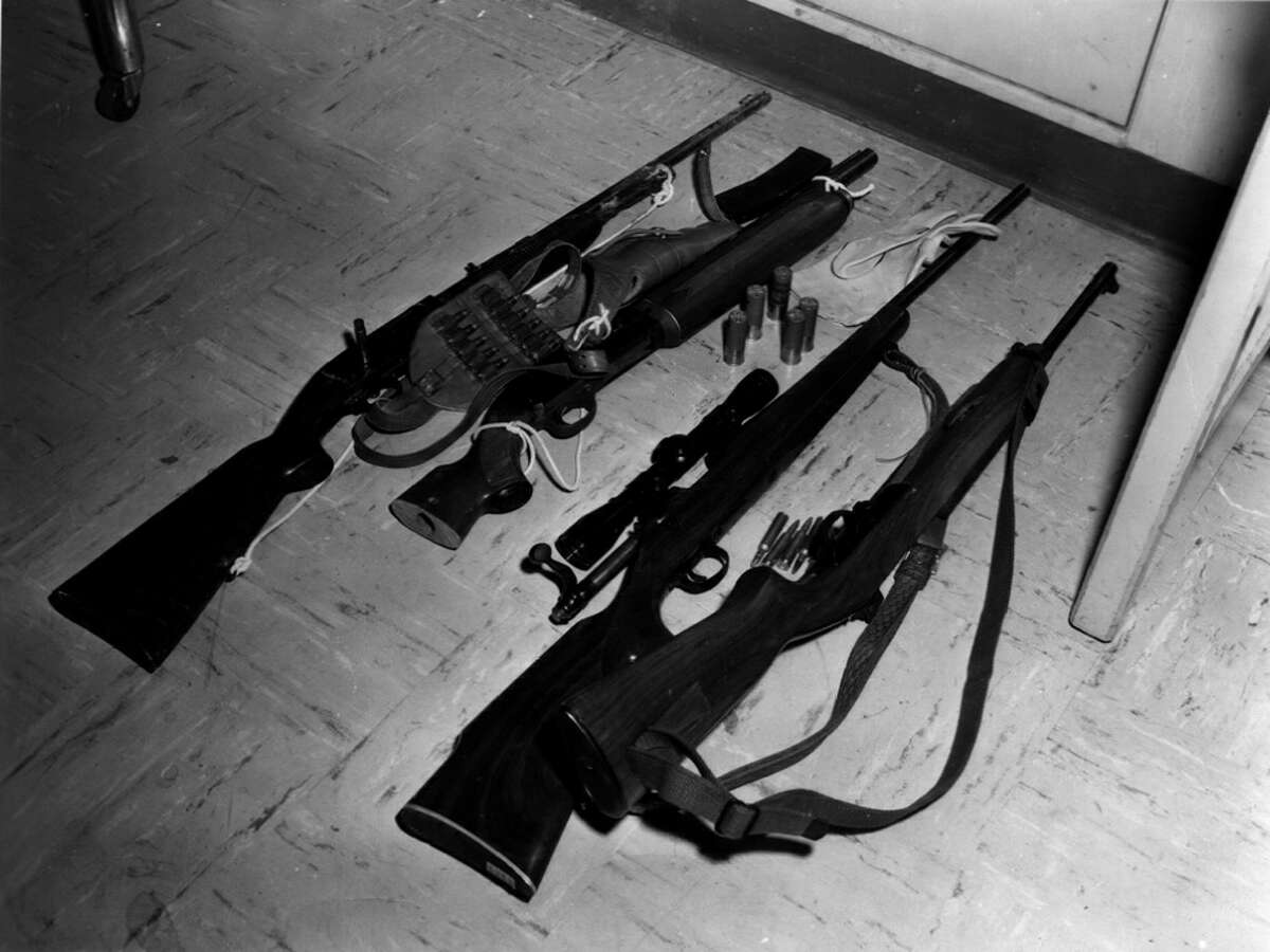 Photos released by the Austin Police Department pertaining to the Charles Whitman shootings. These photos are part of a last batch of evidence released to the public in fall of 2001. Charles Whitman (NOT PICTURED) carried into the tower an arsenal of weapons and enough food to sustain him for days and began firing on students as they walked to class.