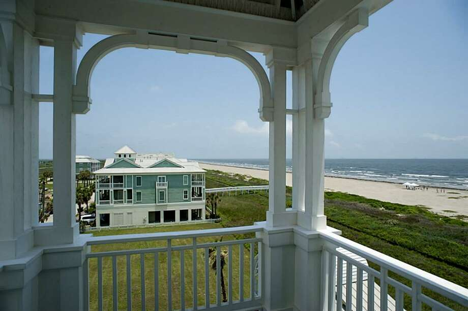 One of many amazing views from the 4th level porch. Generous dunes run the length of the groomed beaches at Beachtown. At this end of Galveston Island, nature is actually causing the beaches to grow a few feet every year!