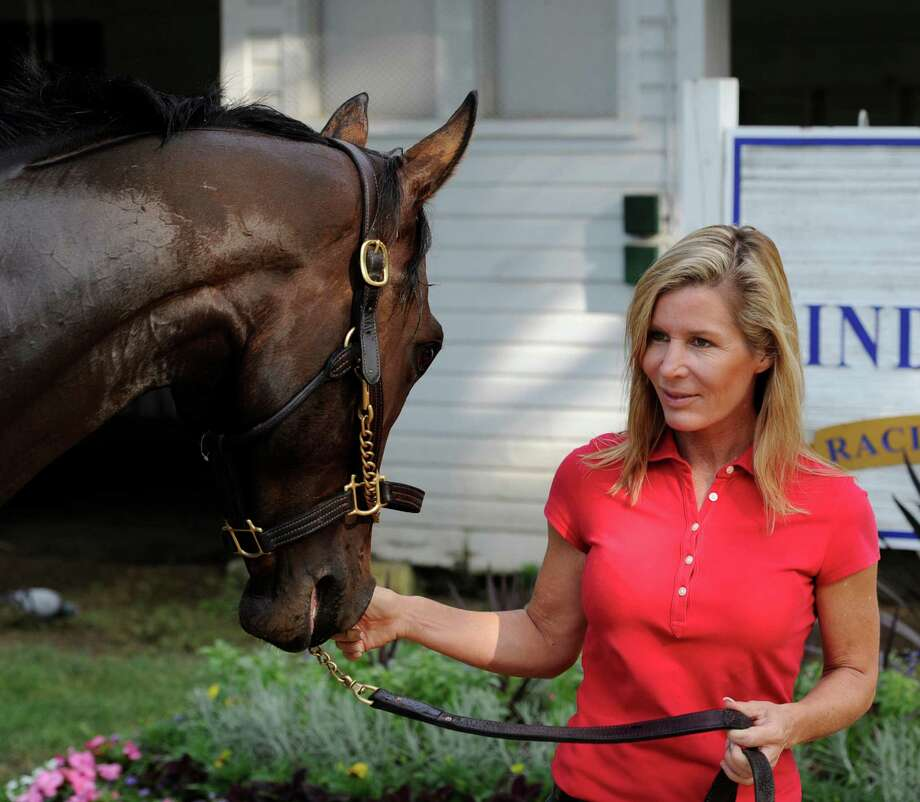 Trainer Linda Rice in her barn area at the Saratoga Race Course in Saratoga Springs, New York July 21, 2010.        (Skip Dickstein/Times Union) Photo: Skip Dickstein / 2008