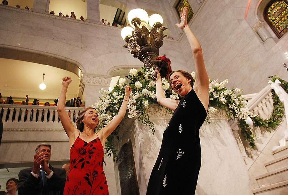 "Cathy ten  Broeke (left) and Margaret Miles celebrate after becoming the first same-sex couple to marry at Minneapolis City Hall. ""I didn't expect to cry quite that hard,"" ten Broeke says. Photo: Stacy Bengs, Associated Press"