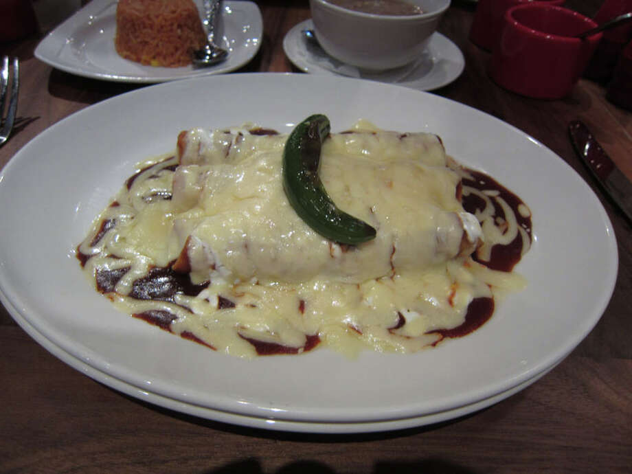 Enchiladas Saltillos as served at La Casa del Caballo during Houston Restaurant Weeks. The restaurant is located at 322 Westheimer. For a complete list of Houston Restaurant Week restaurants, as well as menus and maps, go to houstonrestaurantweeks.com. Photo: Syd Kearney, Houston Chronicle