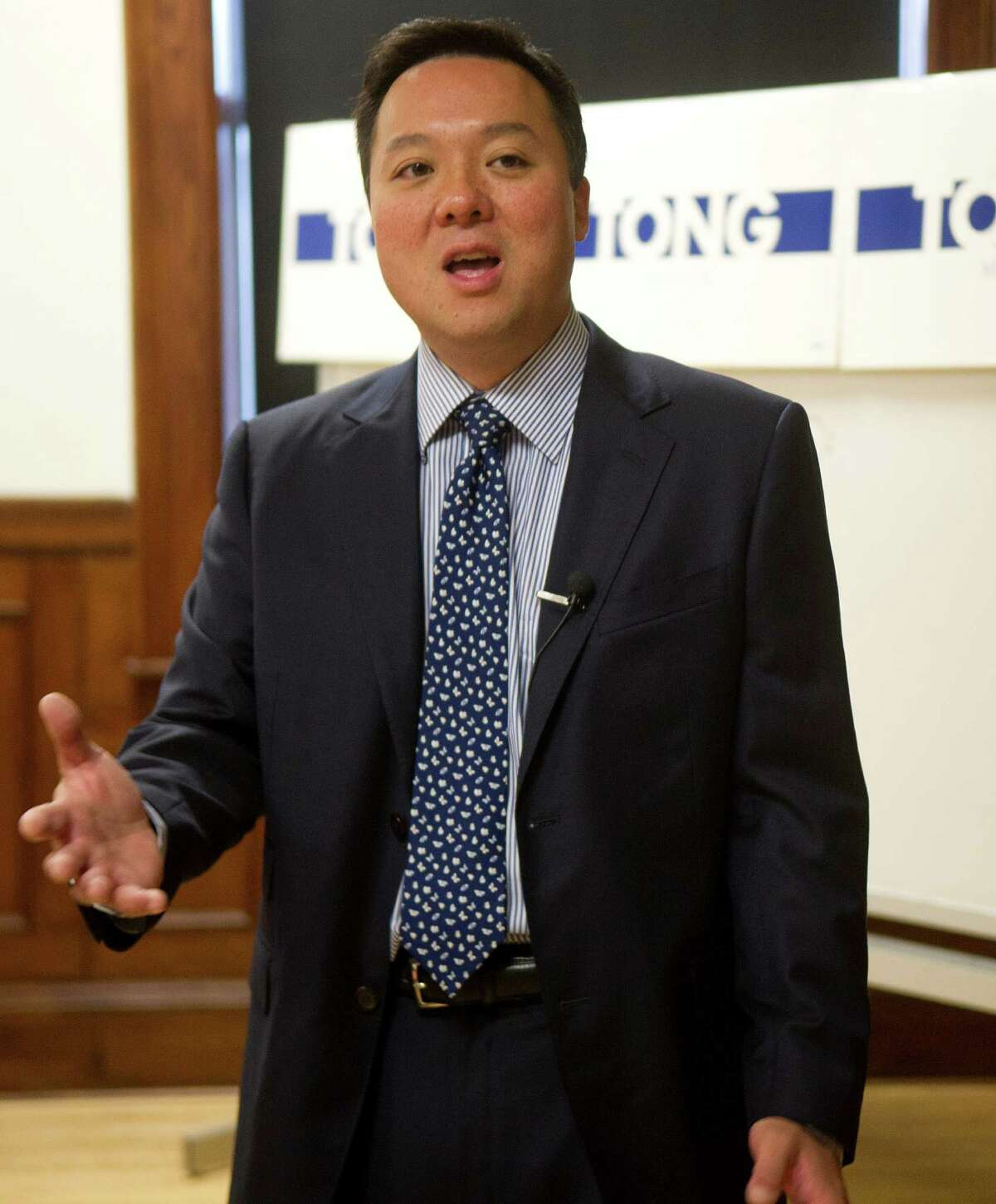 Stamford mayoral candidate William Tong speaks at the Stamford Innovation Center about his three-point start-up plan on Thursday, August 1, 2013.
